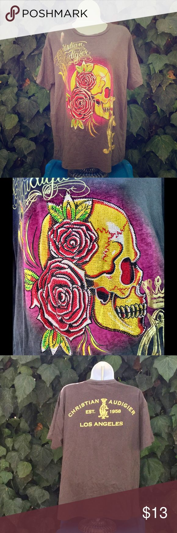 Christian Audigier Rose Skull Studded Tee Awesome crystal design! In excellent condition. Christian Audigier Tops Tees - Short Sleeve