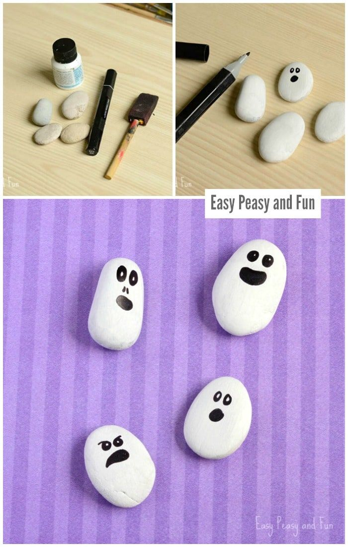 Painted Rock Ghosts Art Project for Kids