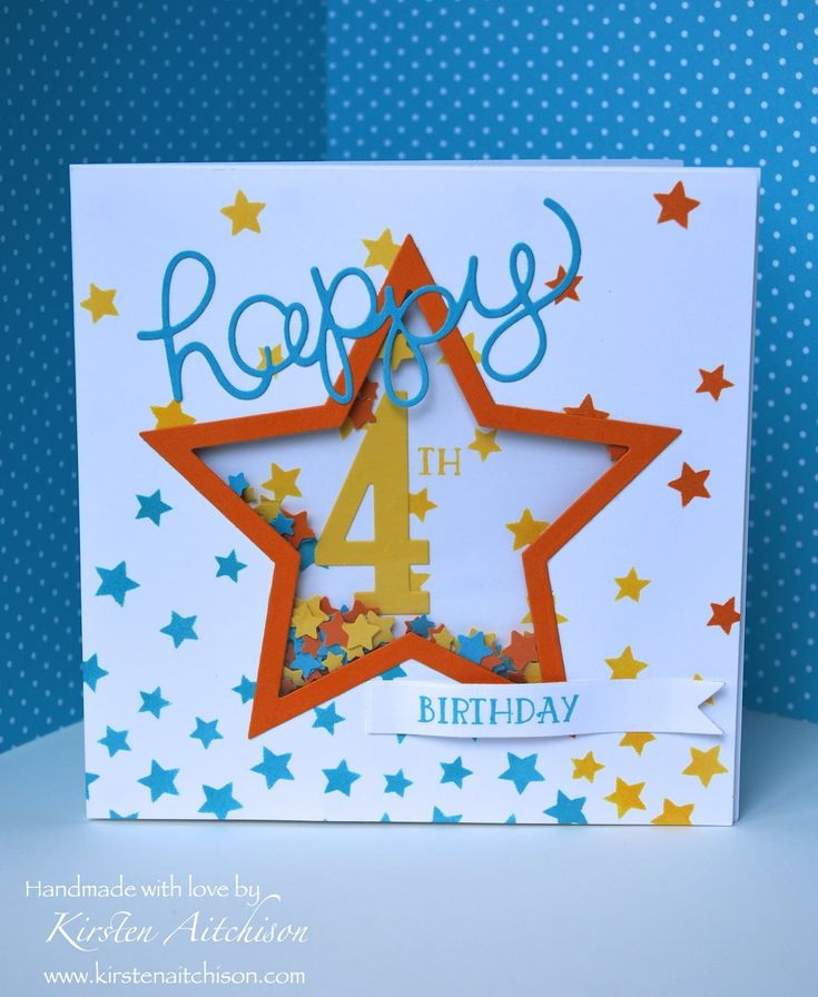 Kirsten Aitchison | 4th Birthday Shaker Card | Crazy Crafters Blog Hop CASEing Tami White | Click to see more of Kirsten's Designs #kirstenaitchison…