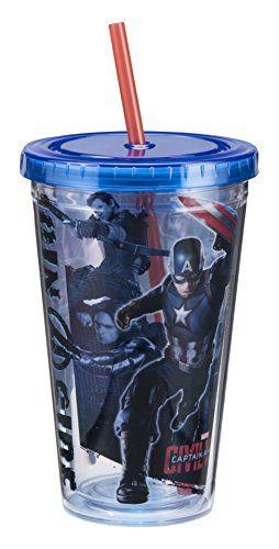 Vandor 26015 Marvel Captain America Civil War 18 Ounce Acrylic Cup Multicolored *** Visit the image link more details.