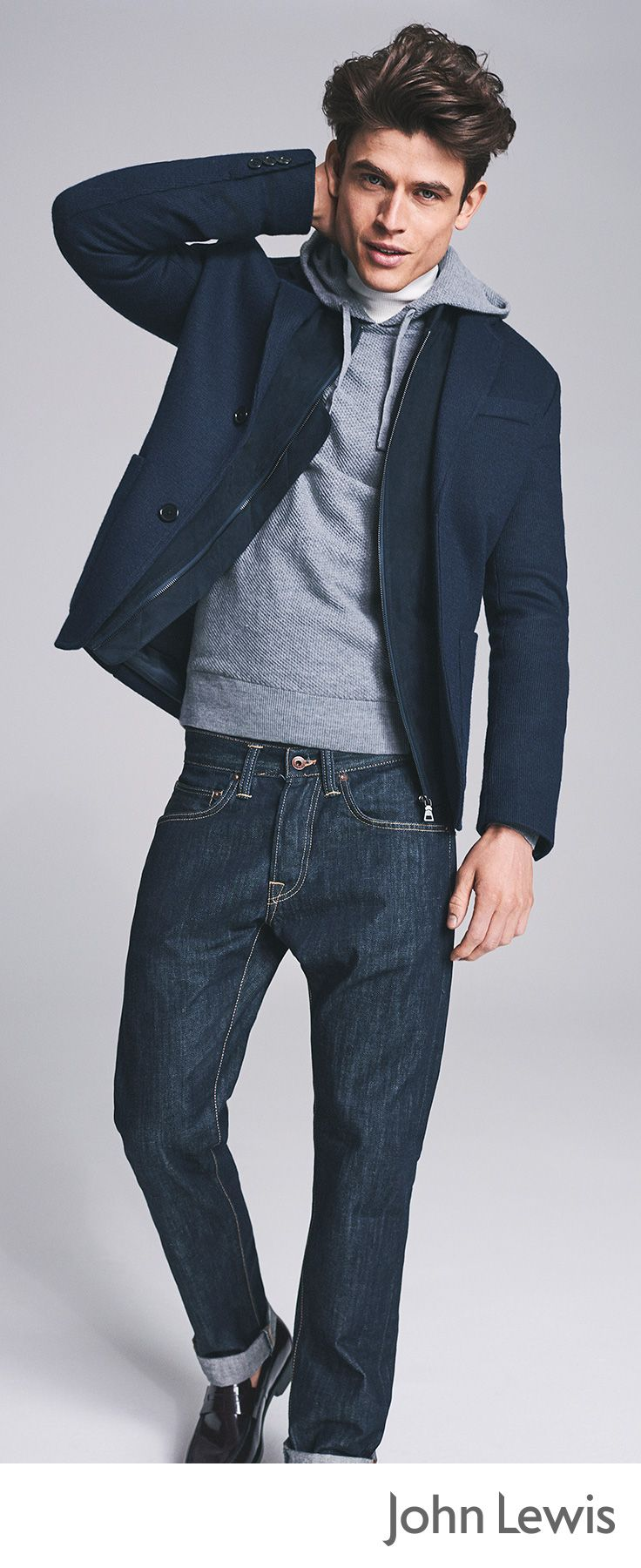 Layer up by throwing a grey hoodie over casual ensembles for a relaxed weekend look. Pair with a classic pair of blue jeans and navy jacket for a classic informal outfit.