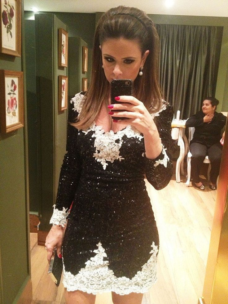 Unique White Black Sheath Sequin Long Sleeve Lace Seqeuin Cocktail Party Dress With Long Sleeve Vestido Curto