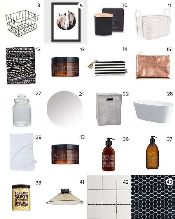 Get the Look - Alex & Corban's Bathroom - visit blog.curate.co.nz for links to all products   Wire basket from Father Rabbit; Horse Print by Margaret Petchell from EndemicWorld; Soy Candle, Citadel Bath Towel, Jacquard white bath towels, Helga flat purse, Copper flat purse and Compagnie de Provence soaps from Citta Design; Coil Storage basket from Freedom; Round mirror from Metro Glass; Jars from The Warehouse; Bath from iBath; Pendant Light from Lighting Direct; Tiles from Heritage Tilesart