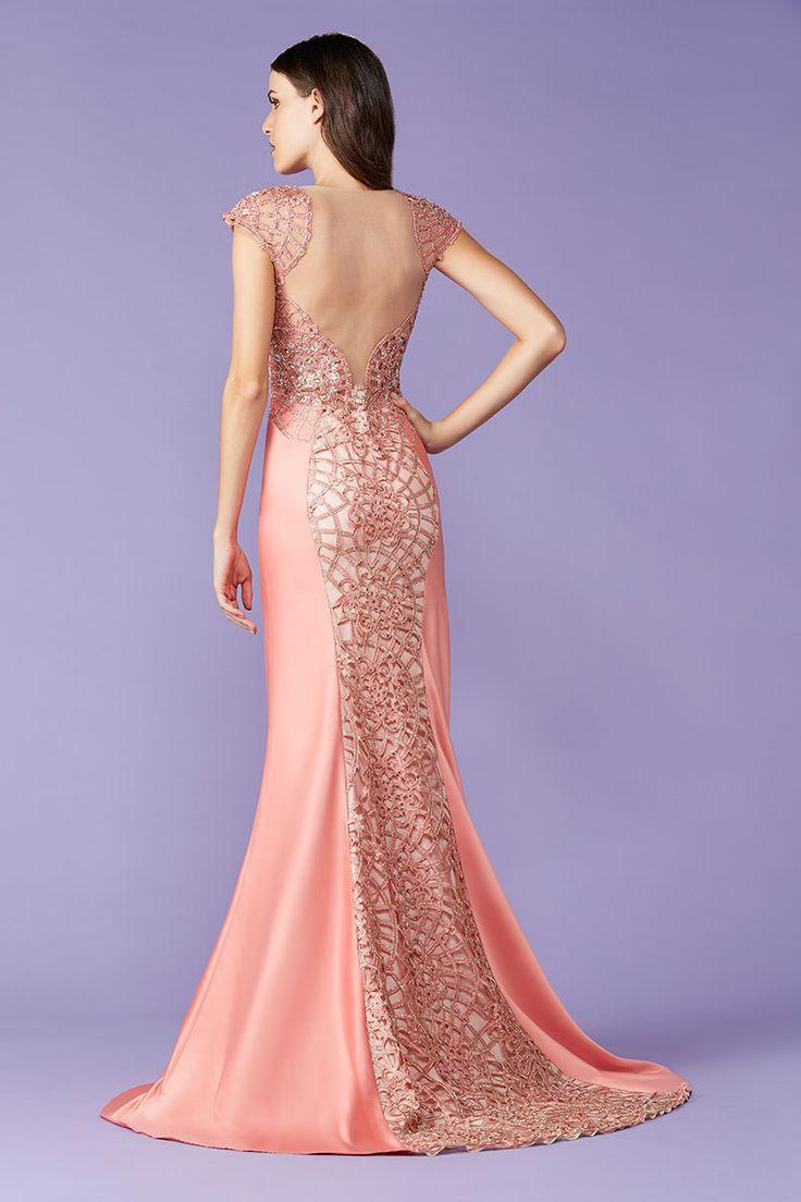 Vestido de festa costa nuda coral