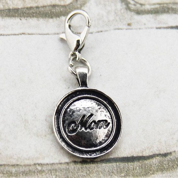 Mom Clip on Charm #supplies @EtsyMktgTool http://etsy.me/2zgfkRV #cliponcharm #momcharm #antiquesilvercharm #bracelet #keyfob #pursecharm
