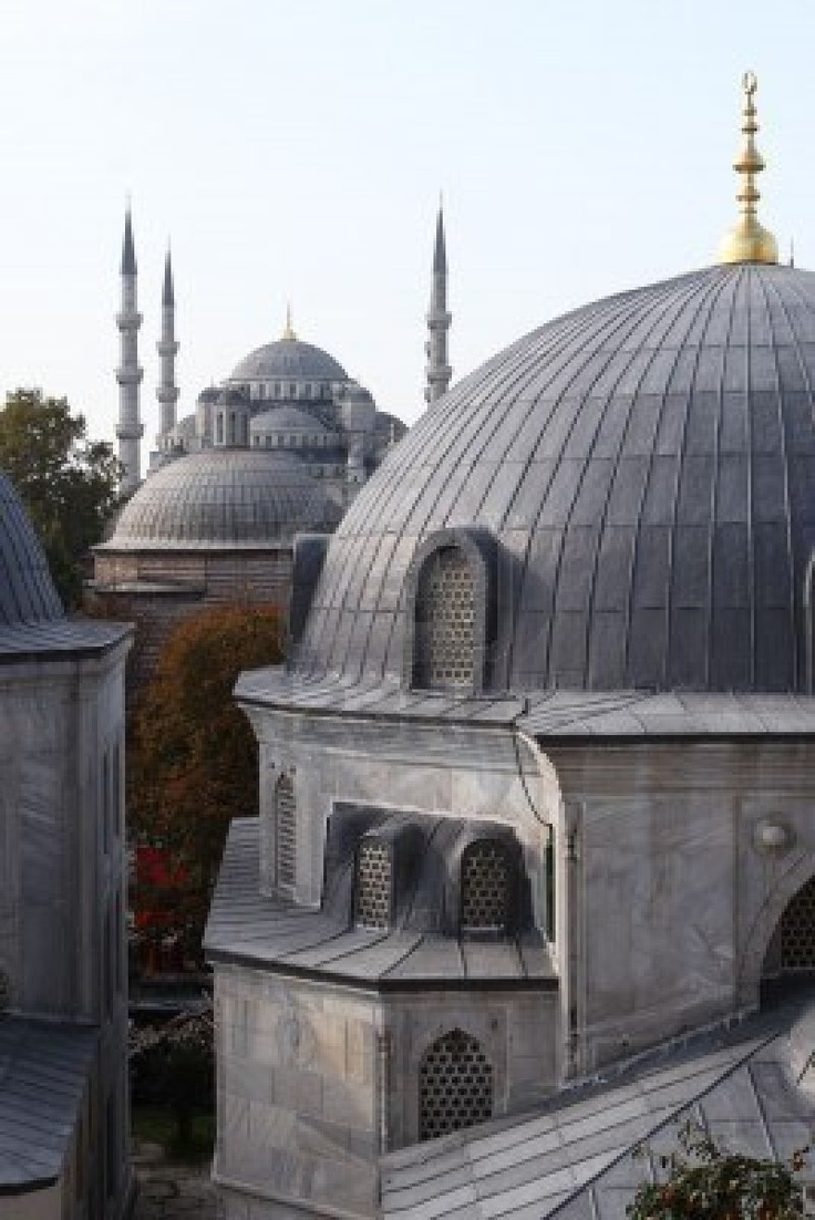 Domes of two greatest Istanbul Mosques (Sultanahmet and Haghia Sofya)