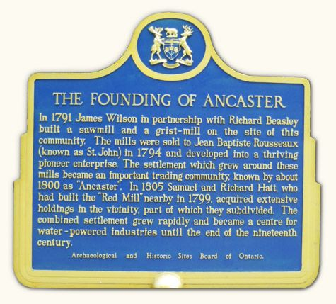 Ancaster Ontario located near the city of Hamilton and the Niagara ...