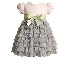 Sew easy! Buy premade ruffle fabric and a t-shirt. Attach ruffle fabric to end of shirt and add a bow. VOILA! Easy holiday dress!