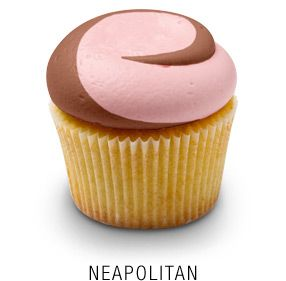 """Classic Madagascar Bourbon vanilla cupcake with a """"twisted"""" chocolate and strawberry buttercream frosting"""