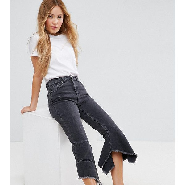 ASOS PETITE FARLEIGH High Waist Slim Mom Jeans with Extreme Waterfall... (170 SEK) ❤ liked on Polyvore featuring jeans, black, petite, asos jeans, high rise jeans, flared jeans, petite jeans and tall jeans