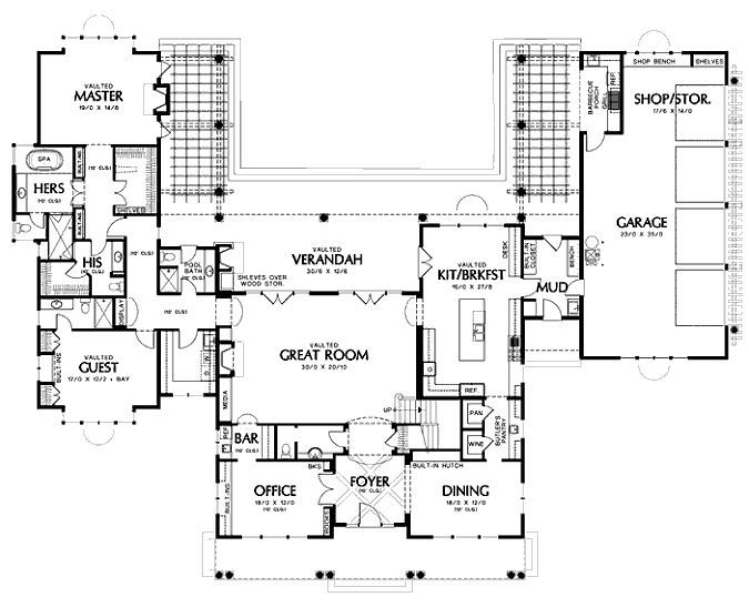 U Shaped House Plans Eplans Shingle House Plan His And Hers Master Baths