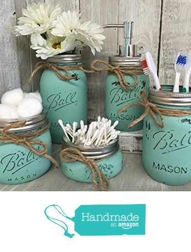 Painted Mason Jar Bathroom Set - Seaglass Rustic Distressed Farmhouse Decor Bathroom Soap Dispenser, Painted Mason Jar from Burlap Bowtique https://smile.amazon.com/dp/B01LXYK8E4/ref=hnd_sw_r_pi_dp_lRZvyb57AA2KV #handmadeatamazon