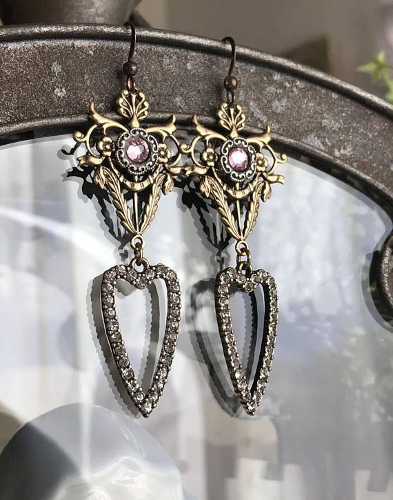 göttlichen Herzen  Strass Ohrringe Ohrhänger Tropfen