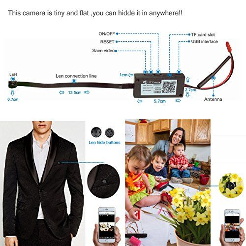 Wifi Hidden Spy Camera-ENKLOV 720P HD Portable Small Mini Camera with Motion Detecting,P2P Wireless Wifi Digita Video Recorder for IOS iPhone Android Phone APP Remote View Support 128GB(Not include)