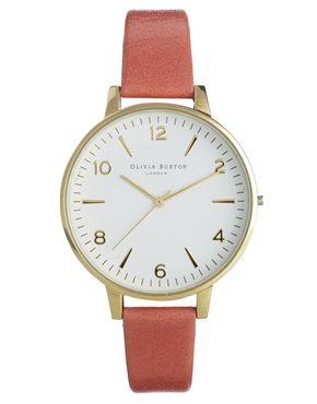Olivia Burton – Große Uhr in Weiß mit Armband in Koralle