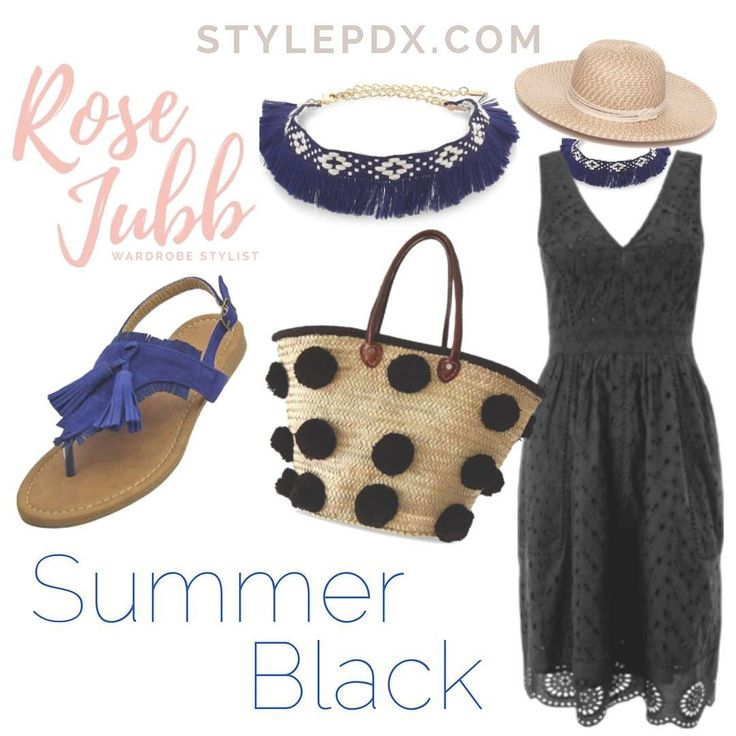 "Sometimes I hear funny fashion rules that no longer apply and I just get the urge to prove them wrong! Like ""You shouldn't wear black during Summer"". Whaaaa? Why?! Today's layout and tomorrow's ootd prove otherwise.  Black can go very ""evening"" quick if you don't watch how you accessorize so in the summer think black sundress with a straw sun hat funky jewelry in a pop of color flat sandals that pull in the color pop and a funky straw bag. Boom! Summer black!"
