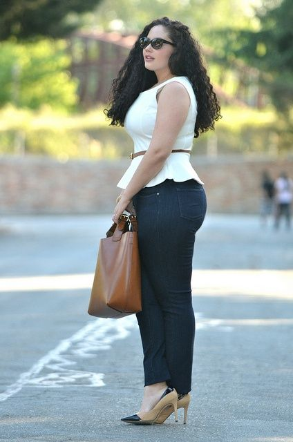 Girl with Curves white peplum blouse, dark denim, tan and black pumps, camel bucket purse