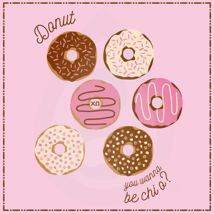 Donut you wanna be Chi O? Geneologie | Greek Tee Shirts | Greek Tanks | Custom…