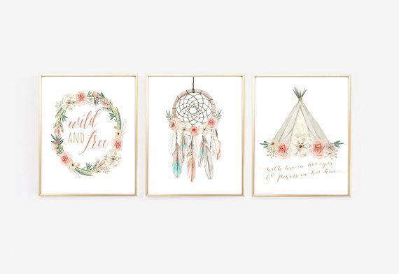 Signes de Boho pépinière Art Dream Catcher par KirraReynaDesigns
