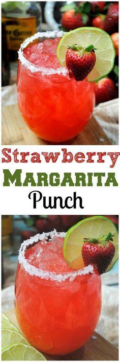 Fizzy Strawberry Margarita PUNCH!