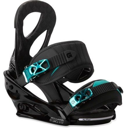 Burton Stiletto Snowboard Bindings - Women's, $110+. I have my boyfriend's old snowboard, but I don't have my own boots and bindings.