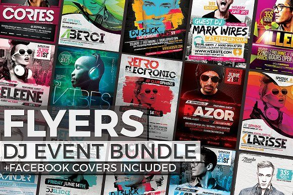 12 DJ Event Flyers + FB Covers by Zeppelin Graphics on @creativemarket