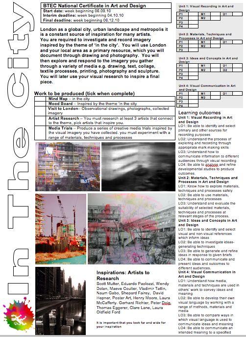 Level 3 BTEC Brief In the city
