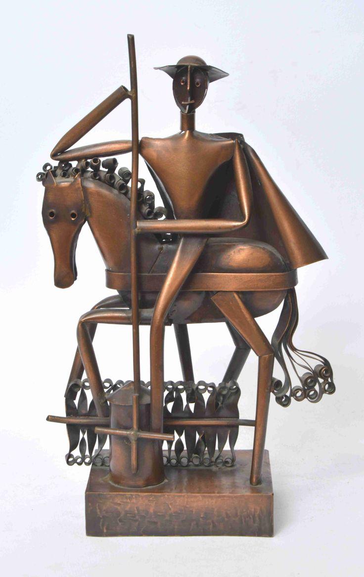 Jajesnica Róbert Don Quijote, vörösréz lemez. M 29 cm Jelezve hátul Jajesnica Róbert JR0116/62