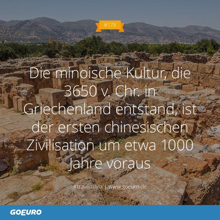 #TravelTrivia #178: Die minoische Kultur, die 3650 v. Chr. in #Griechenland entstand, ist der ersten chinesischen Zivilisation um etwa 1000 Jahre voraus