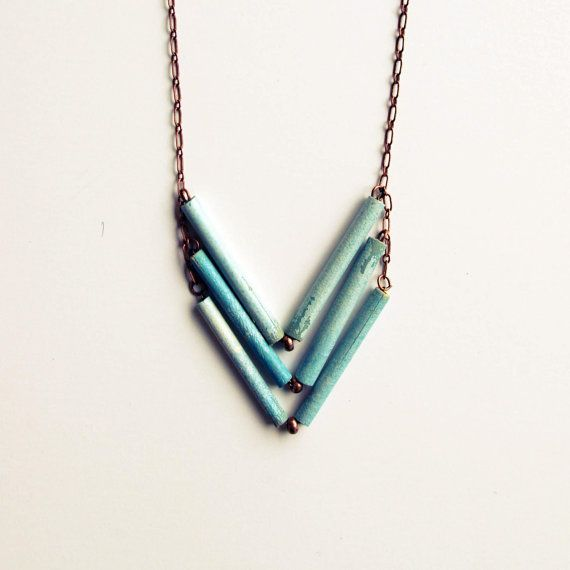 Blue Clouds Chevron Necklace by littleocean on Etsy, $28.00