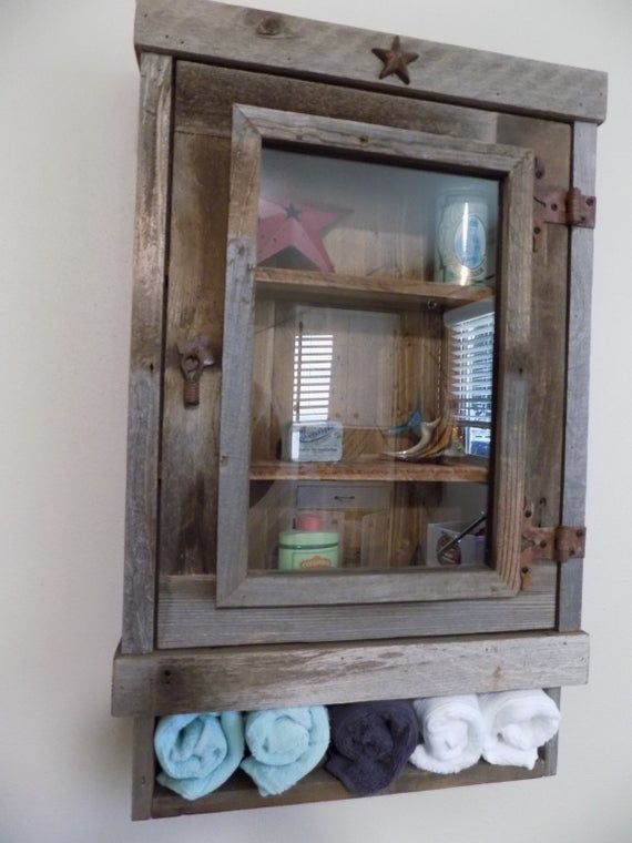 Rustic Reclaimed Medicine Cabinet Choice Of Mirror Mesh Or Etsy In 2020 Bathroom Wall Cabinets Rustic Medicine Cabinets Farmhouse Cabinets