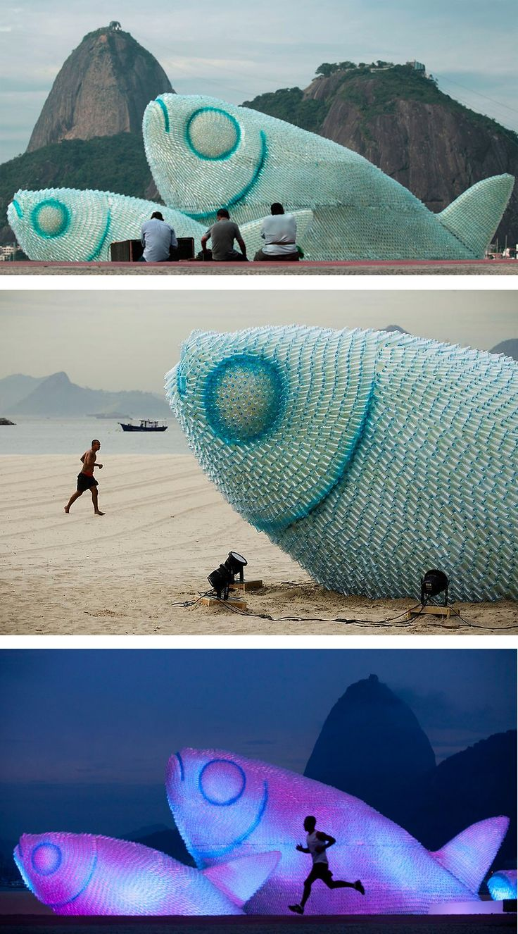 A fish sculpture constructed from discarded plastic bottles rises out of the sand at Botafogo beach in Rio de Janeiro, Brazil, on June 19, 2012. The city is host to the UN Conference on Sustainable Development, or Rio+20