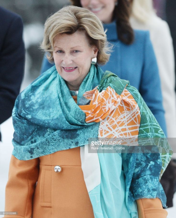 Queen Sonja of Norway visits the Princess Ingrid Alexandra Sculpture Park on day 3 of the Duke and Duchess of Cambridge's visit to Sweden and Norway on February 1, 2018 in Oslo, Norway. The Princess Ingrid Alexandra Sculpture Park opened last year in the name of Princess Ingrid Alexandra to mark the 25th anniversary of The King's reign.