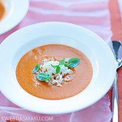 Zupa krem pomidorowa z imbirem, bazylią i mleczkiem kokosowym | Kwestia Smaku