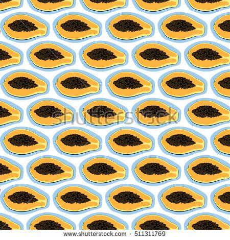 Papaya fruit vector pattern.swatch pattern