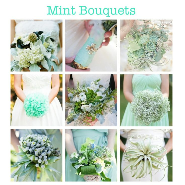 Mint green wedding bouquets. (flower, mint, bouquets, accessories, ribbons, stem, bride, ideas) More mintspirations on my blog!