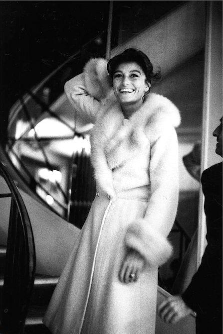 Anouk Aimée photographed by Shahrokh Hatami at Chanel, 31 rue Cambon, Paris, ca. 1960.