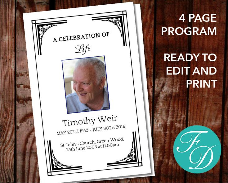 17 best Funeral Order of Service Designs images on Pinterest - free funeral program templates download