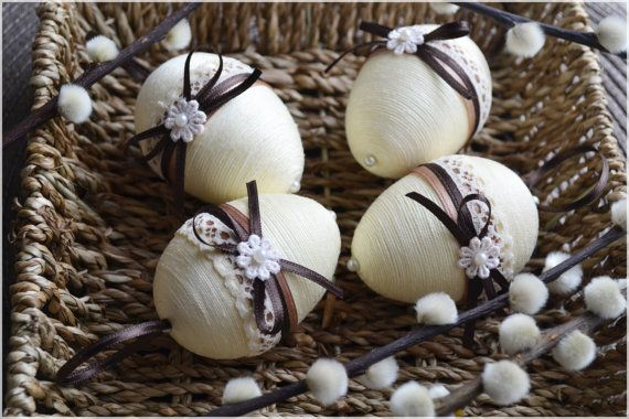 Set of 4 Easter eggs Easter eggs Easter decor by Leafbirdcrafts