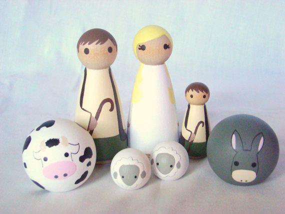 Angel Shepherds and Animals Peg Dolls Nativity by Pegged on Etsy, $60.00