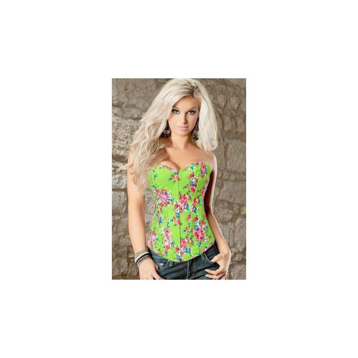 Corpiño floral de rosas con tapiz color verde. Cierre de gancho y ojal en la parte delantera y lazo de raso en la parte posterior. Incluye tanga a juego de regalo.