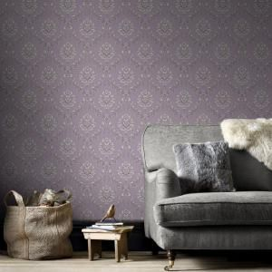 Graham & Brown Purple and Cream Jacquard Wallpaper-20-855 - The Home Depot