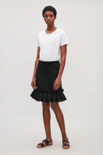 COS image 1 of Skirt with frill details in Black