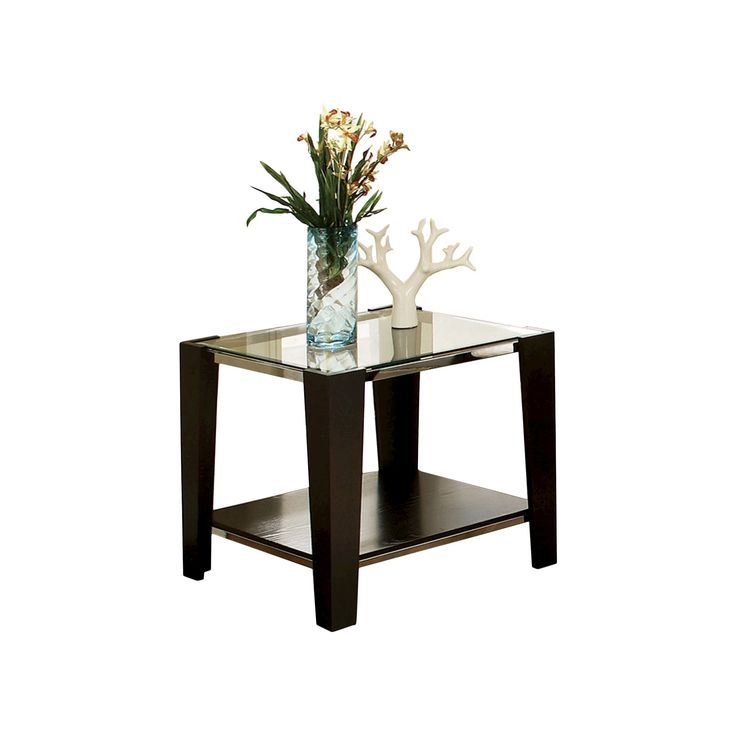 Norman Espresso and Glass End Table - Steve Silver Co.