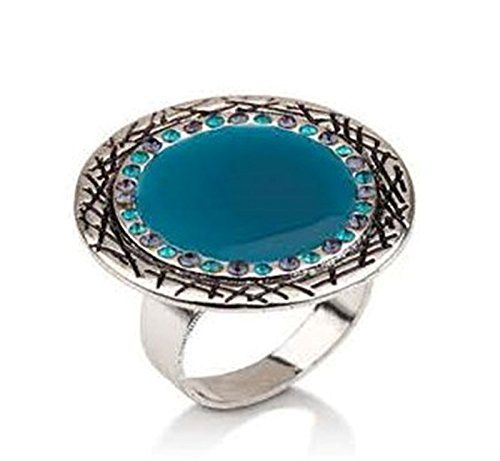 Hypoallergenic Surgical Steel Rhodium Plated Round Turquoise Flower Ring olGmgClo