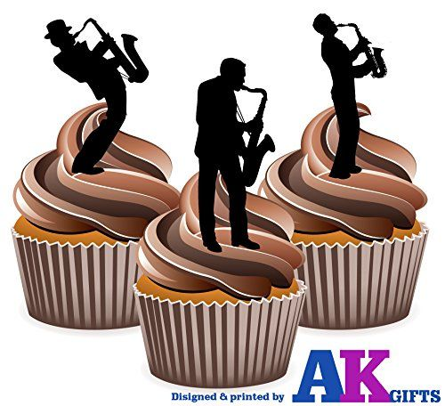 From 2.49 Saxophone Player Silhouette - Edible Stand-up Cupcake Toppers (pack Of 12)