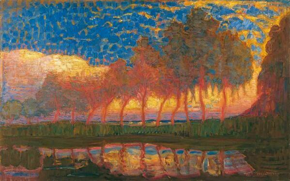 Piet Mondrian「Trees along the Gein」(1907-1908)