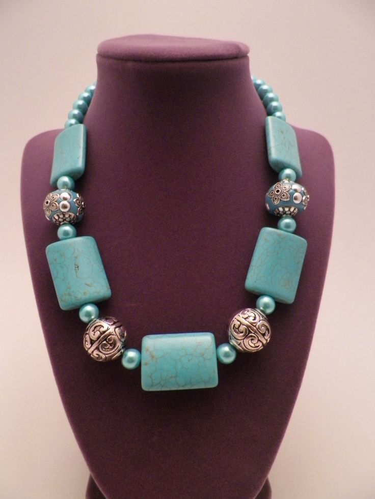 Handcrafted One Of A Kind Beaded Necklace In Turquoise and Silver w/ Pearl by LillyandLex on Etsy