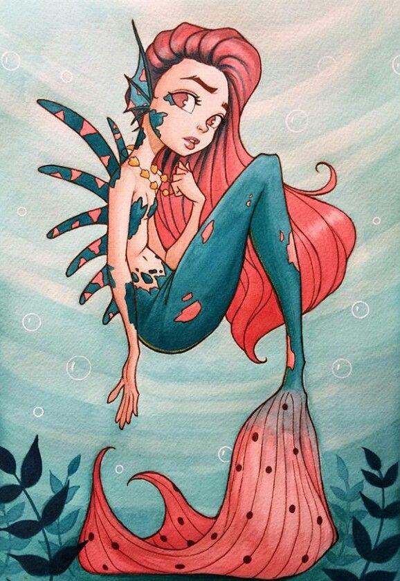 Русалочка девочка рисунок