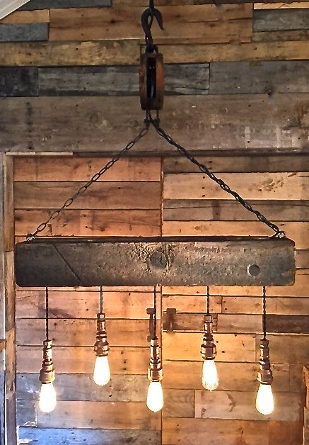Reclaimed Wood Beam & Barn Pulley Light Fixture by ChicagoLights